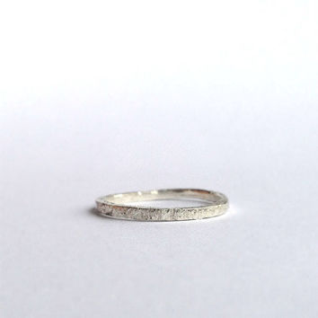 Silver Ring - Distressed Organic Texture - Recycled Sterling Silver  - Thin Ring - Wedding Band - Men's Women's - Unisex - Eco - 1234mm wide
