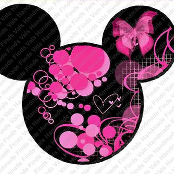 Butterfly Flowers Hot Pink Minnie Mouse Head Printable Digital Iron On Transfer Clip Art DIY Tshirts Instant Download