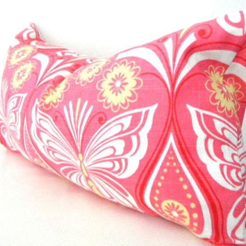 Pink Lumbar Pillow, Coral Pink Throw pillow Cover, Butterfly Pillow, Red, Pink, Butter Yellow, White 12x22 inch