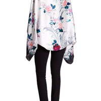 Ted Baker London Acanthus Scroll Silk Scarf Kimono Cape