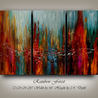 """Large Wall Art ORIGINAL ABSTRACT PAINTING Acrylic Home Decor Red Landscape Abstract 72""""x48"""" Canvas Painting Contemporary Art, Wall Hanging"""