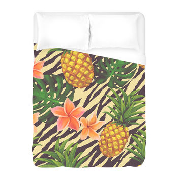 Pineapple on Zebra Duvet Cover
