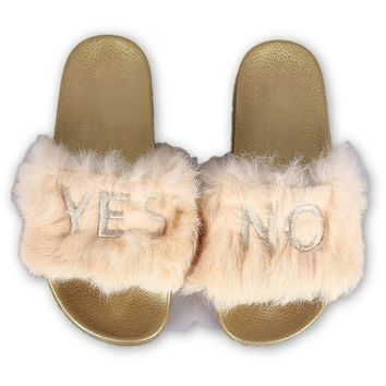 Embroidered Yes No Faux Fur Sandal