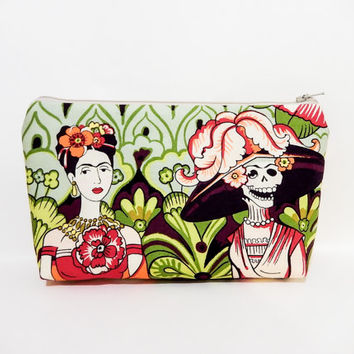 Large Zipper Pouch, Cosmetic Bag, Fabric Pouch, Frida Kahlo Pouch, Day of the Dead Purse, Frida Kahlo in the Garden Day of the Dead Skeleton