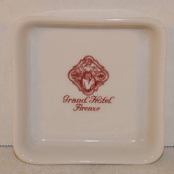 Schonwald German China Butter Pat Dish Vintage Grand Hotel Firenze Trinket Dish Florence Italy Souvenir Jewelry Tray Pin Dish Italy Keepsake