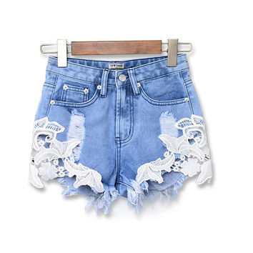 Light Blue Lace Design Frayed Shorts