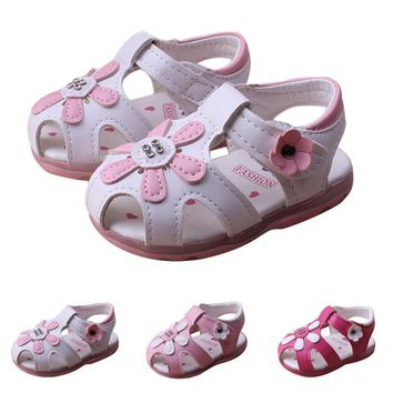Kids boys sandals summer shoes flower Toddler Kids Baby Boys Summer Shoes With Flashing Lights Sandals Shoes girls
