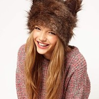 ASOS Fur Ears Cossack Hat at asos.com