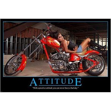 SEXY MOTORCYCLE AND BABE photo poster RACY shiny chrome ADULT THEME 24X36