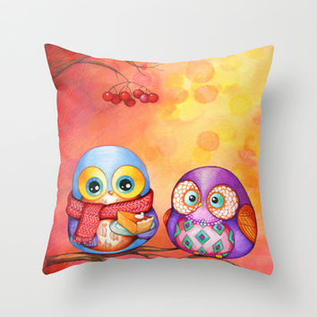 Fall Colors Owls and Pumpkin Pie Throw Pillow by Annya Kai