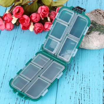 Waterproof Fishing Tackle Boxes Fishing Lure Bait Hook Storage Case Tackle Box with 10 Small Compartments Fishing Accessories
