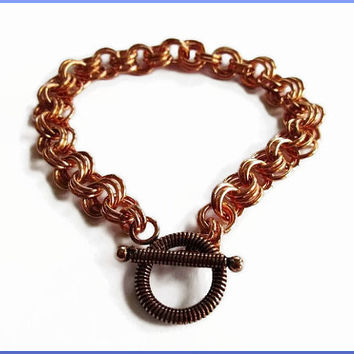Handmade Copper with Alternating Double Triple Links Starter Charm / Chain Bracelet