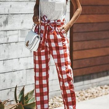 Red Plaid High Waist Tie Front Chic Women Pants