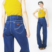 70s Dark Wash High Waisted Jeans (M)