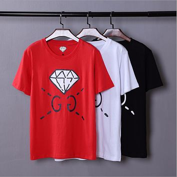 GUCCI spring and summer new catwalk custom models men's diamond GC short sleeve t-shirt youth shirt