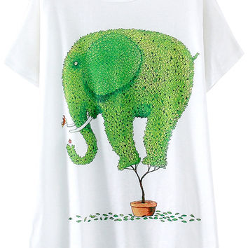 White Green Elephant Print Short Sleeve Graphic Tee
