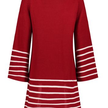 Chicloth Red Round Collar White Stripe Long Wide Sleeve Knitted Dress