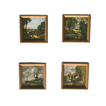 Vintage Delft Tiles Dutch Polychrome Tiles Pastoral Landscape Pictures Dutch Windmill Tile Set of 4 Framed Hand Painted Tiles