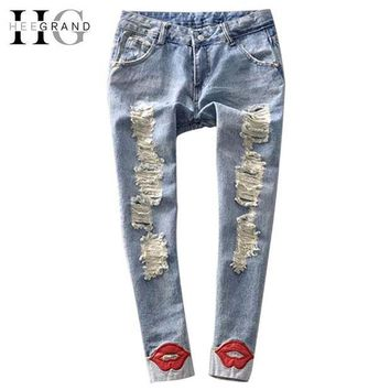 ONETOW HEE GRAND 2017 Spring Pencil Pant Hot Trend Women's Jean Pants Red Lips Washed Ripped Denim Skinny Calca Jeans Feminina WKN089