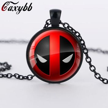 Deadpool Dead pool Taco  Necklace personality Red and Black glass pendant vintage fashion silver round dome necklaces Jewelry CN431 AT_70_6