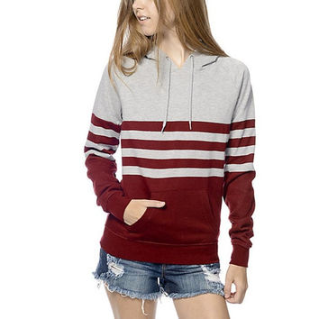 Fashion Women   Striped Print Hooded T shirt Long Sleeve Pocket Tee Shirt Femme Women Clothes Ropa Mujer #1121 GS