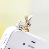 Fashion Cute Rhinestone Rabbit Dust Plug for iPhone 4 4s 5 5s = 1652944580