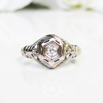 Antique Edwardian Engagement Ring Petite Old European Cut Diamond 18K White Gold Filigree Ring Diamond Wedding Ring Vintage Promise Ring