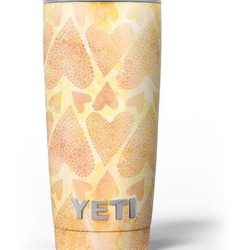 The Yellow Orange Tiny Hearts of a Whole Yeti Rambler Skin Kit