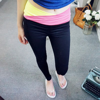 Two-Color Wrap Waist Leggings - I know you wanna kiss me. Thank you for visiting CHUU.