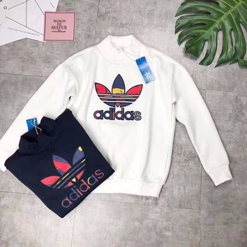 adidas high neck long sleeves top sweater pullover sweatshirt