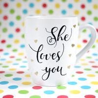 "Hand painted mug with golden hearts and text ""She loves you"""