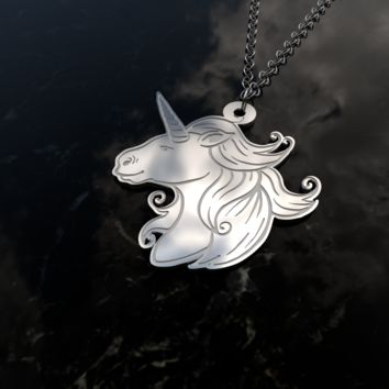 Unicorn design sterling silver pendant necklace and chain