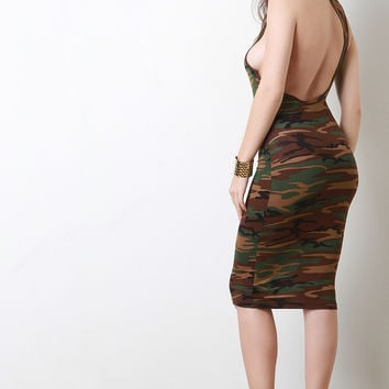 Camouflage Asymmetrical Racerback Midi Dress