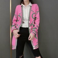 """Gucci"" Women Fashion Letter Multicolor Stripe Long Sleeve Deep V-Neck Knit Cardigan Sweater Coat"