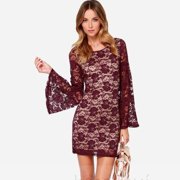 Red Wine Lace Trumpet Sleeve Dress