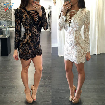 Women Summer style V-neck Chest bandage Backless Mini Dress Long Sleeve Floral Lace Sexy Party Night Club Evening Party Dresses