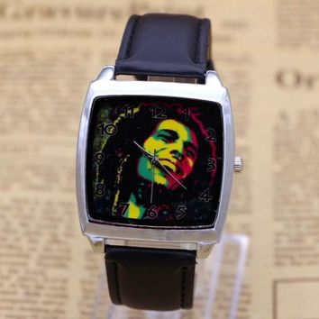 Men women children pretty Jamaica Bob Marley cartoon lovely watch Best fashion casual simple quartz Square leather watches