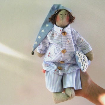 Tilda Pijamas  doll - gift for girls,Tilda,Doll,handmade,Gift for birthday,Art doll, Shabby chic,home decore, blue, soft doll, fabric doll