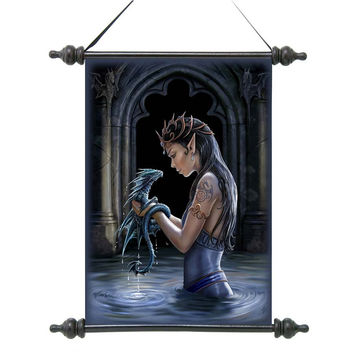 Park Avenue Collection Gothic Water Dragon Canvas Scroll