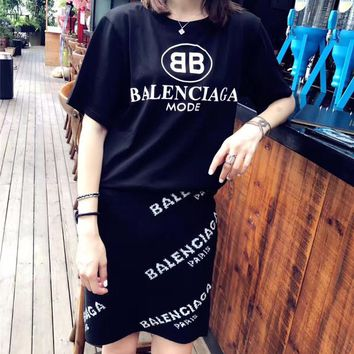 balenciaga fashion casual letter pattern short sleeve knit short skirt set two piece 2