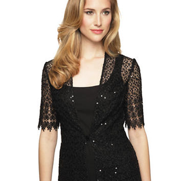 Alex Evenings Sequined Lace Jacket and Tank Set