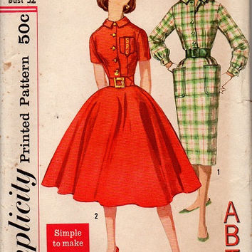 Vintage Simplicity 2612 School Girls Sewing Pattern 1950s Rockabilly Style Slim or Full Circle Skirt Dress Button Bodice Monogram Bust 32