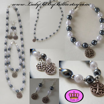Celtic Good Luck Charm Necklace, Bracelet & Earring Handmade Lady B By Billie Jewellery Set