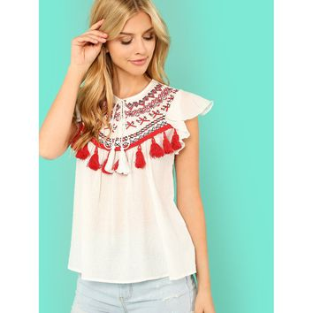 White Tassel Embellished Embroidery Yoke Blouse