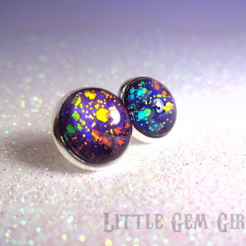 Galaxy Rainbow Nail Polish Post Earrings - Rainbow Super Nova Holographic Glitter - Handpainted - Silver Setting - Fake Plugs