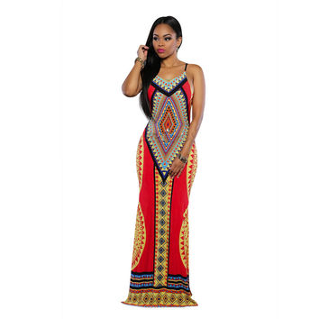 African Dashiki Maxi Dress