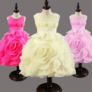 Girls Dress Children's Princess Dresses pleated round neck wedding Kids Dress flower girl party performance costume