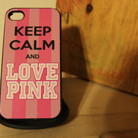 Keep calm love pink secret stripes Apple Iphone 4 / 4s Hard Case