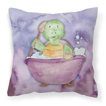 Turtle Bathing Watercolor Fabric Decorative Pillow BB7344PW1818