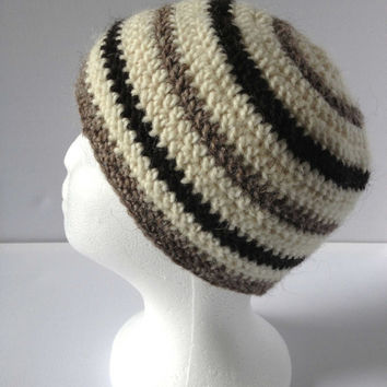 Stripe Beanie Hat, Cream Beanie, Pure Wool Ladies Crochet Cap, Grey, Cream and Black Stripes, Crochet Ladies Beanie